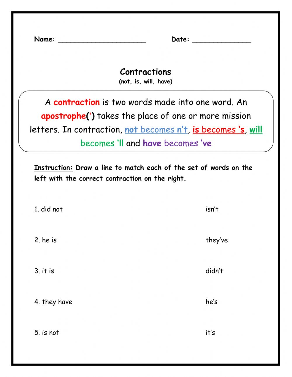 hight resolution of Contractions activity for Grade 1