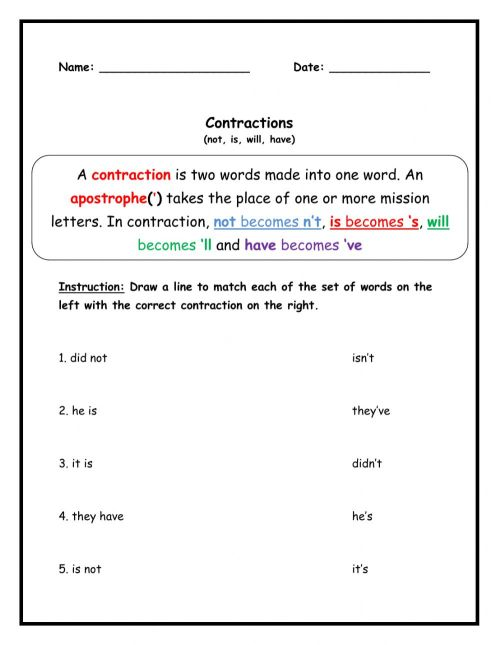 small resolution of Contractions activity for Grade 1