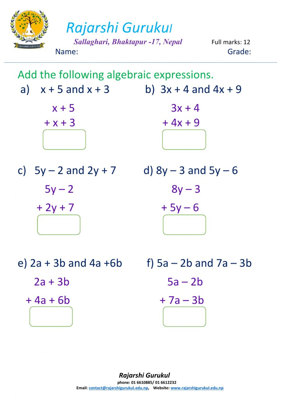 hight resolution of Addition of algebraic expressions worksheet