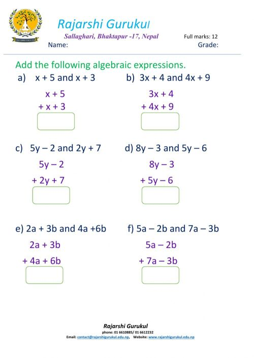 small resolution of Addition of algebraic expressions worksheet