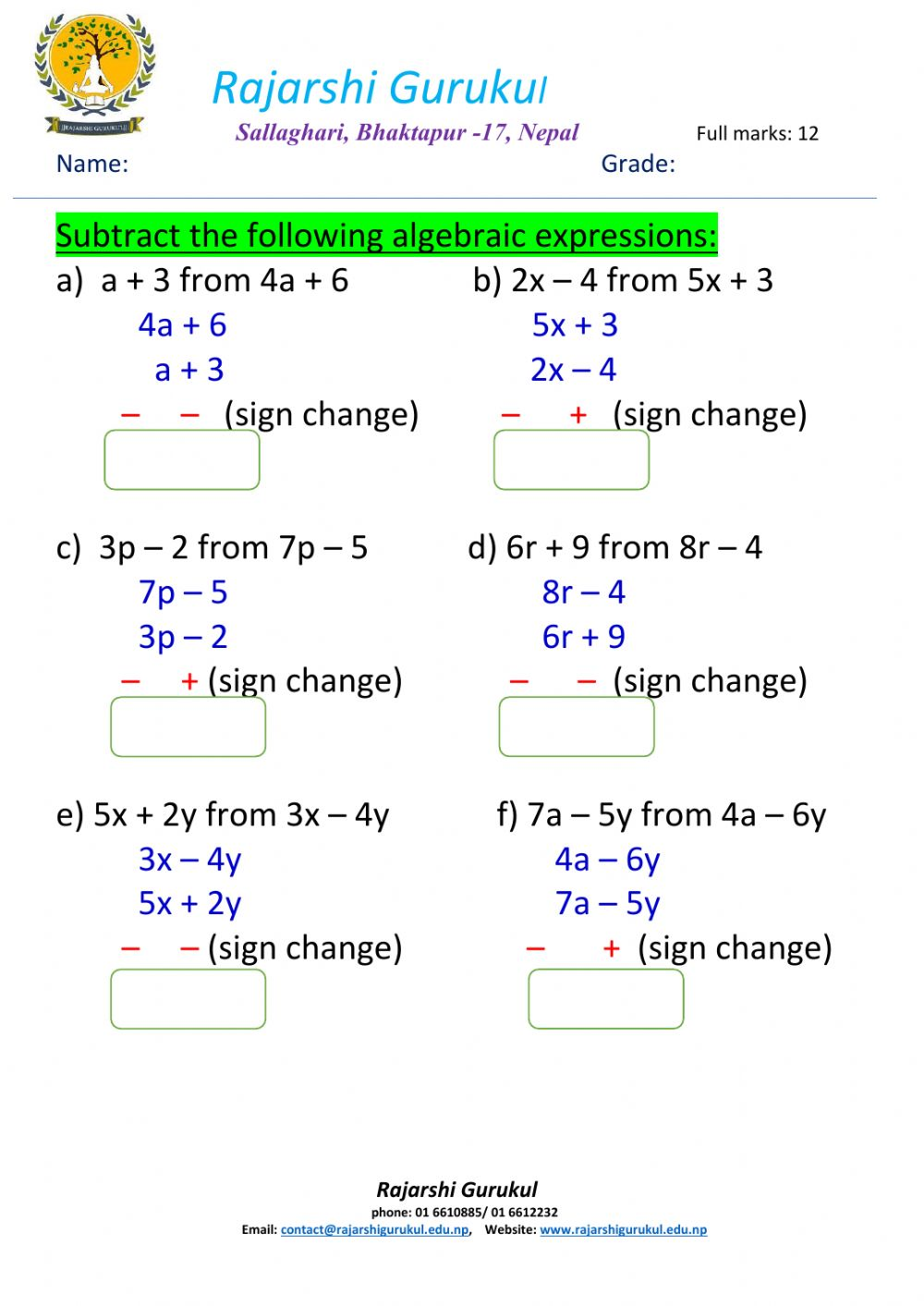 hight resolution of Algebraic expressions interactive worksheet