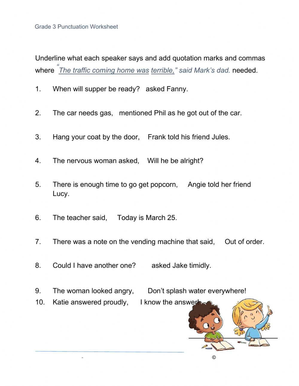 hight resolution of Quotation Marks worksheet