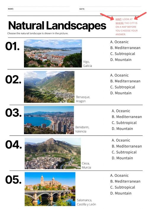 small resolution of Natural Landscapes in Spain worksheet