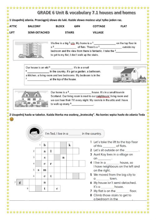 small resolution of Houses unit 7 vocab grade 6 worksheet