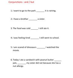 Conjunctions and but interactive worksheet [ 1291 x 1000 Pixel ]