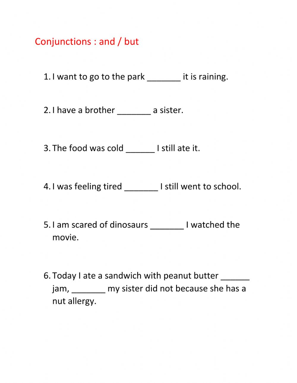 medium resolution of Conjunctions and but interactive worksheet