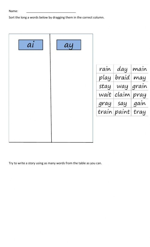small resolution of Word Sort (ai and ay words) worksheet