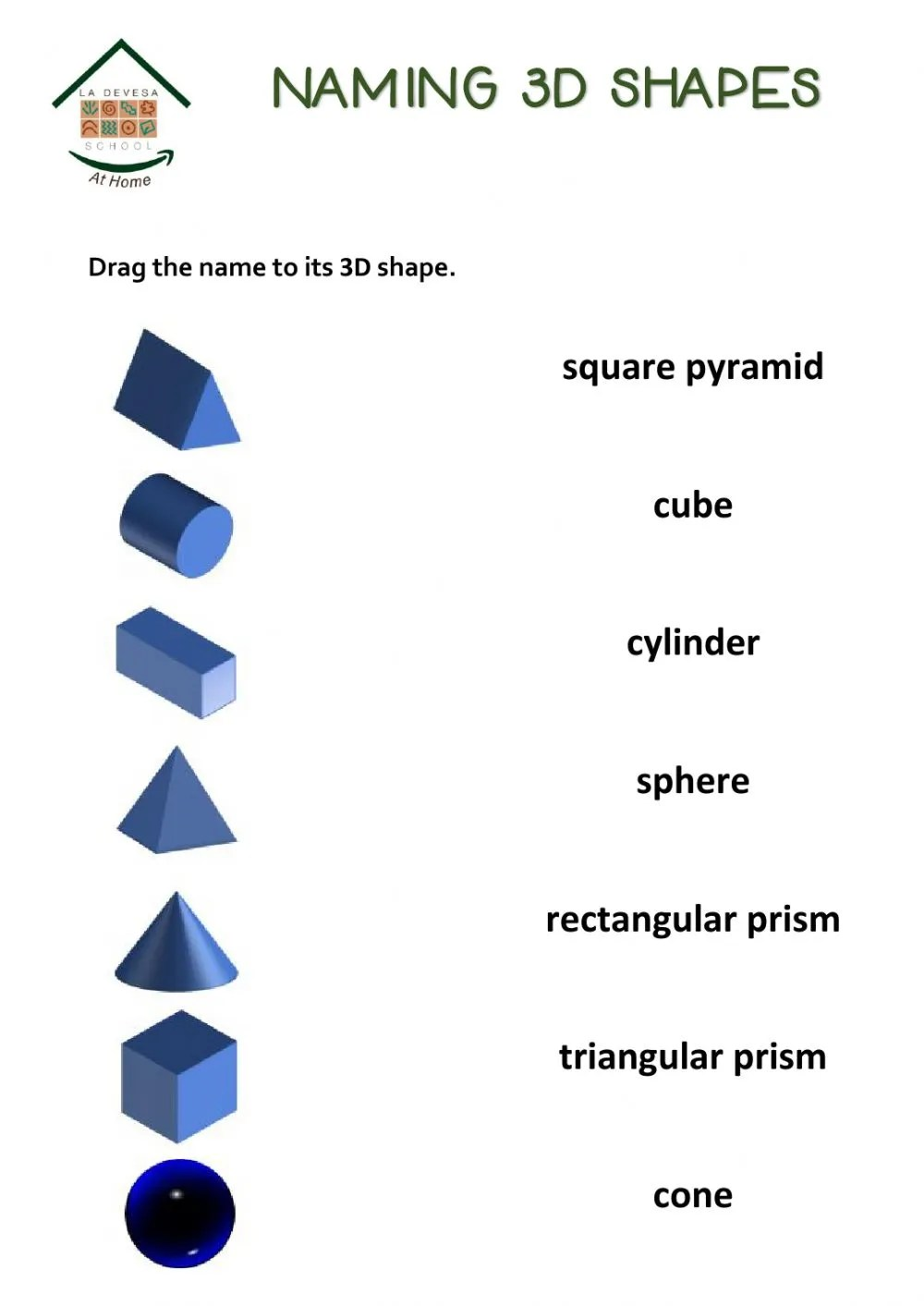 hight resolution of 3d shapes and nets worksheet