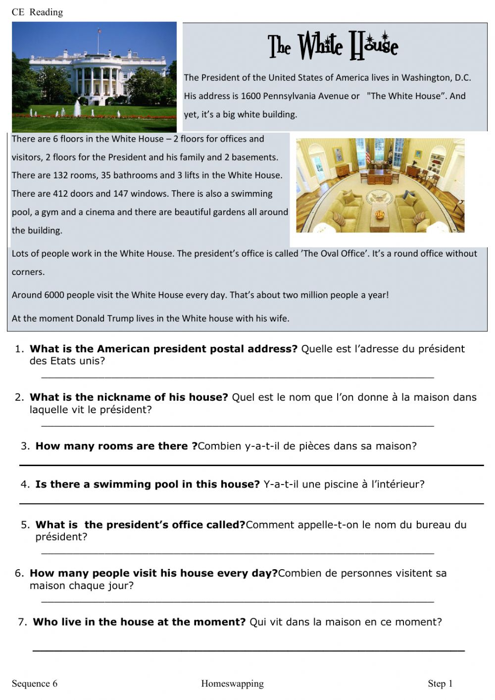 hight resolution of Reading the White house worksheet
