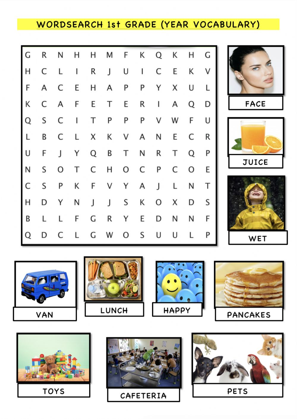 medium resolution of Word search 1st grade vocabulary review worksheet