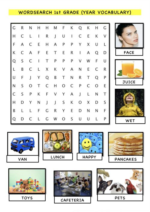 small resolution of Word search 1st grade vocabulary review worksheet