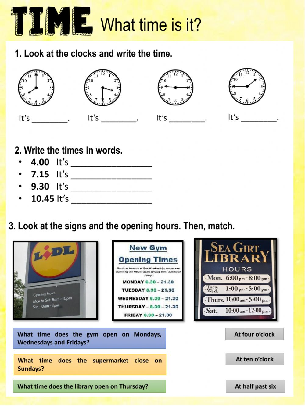 hight resolution of What time is it? online exercise for Grade 3