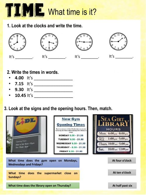 small resolution of What time is it? online exercise for Grade 3