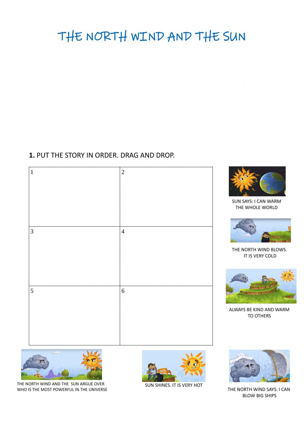 medium resolution of The north wind and the sun worksheet