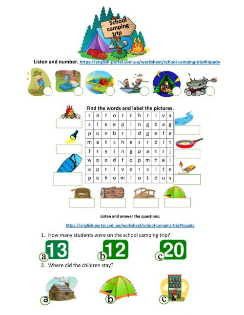 small resolution of Camping trip interactive worksheet