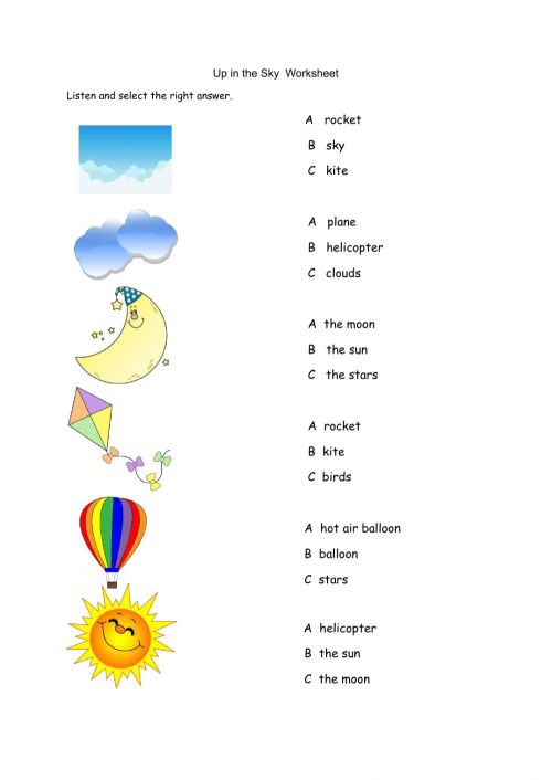 small resolution of Up in the Sky worksheet