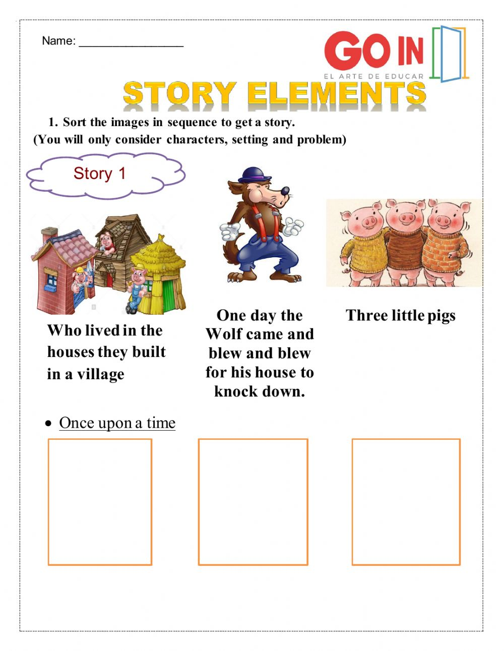hight resolution of Story elements activity
