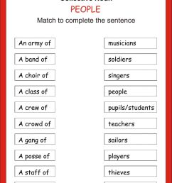 Match the Collective Noun worksheet [ 1413 x 1000 Pixel ]
