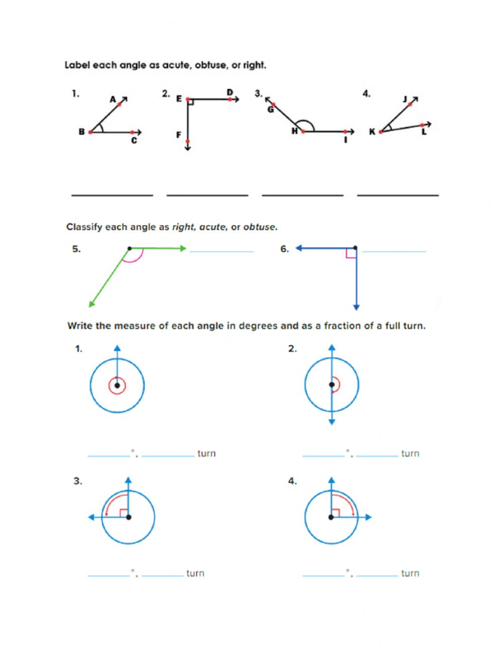 medium resolution of Classify angles and measuring by a fraction of full turn worksheet