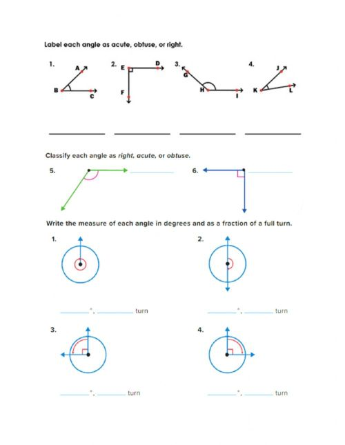 small resolution of Classify angles and measuring by a fraction of full turn worksheet
