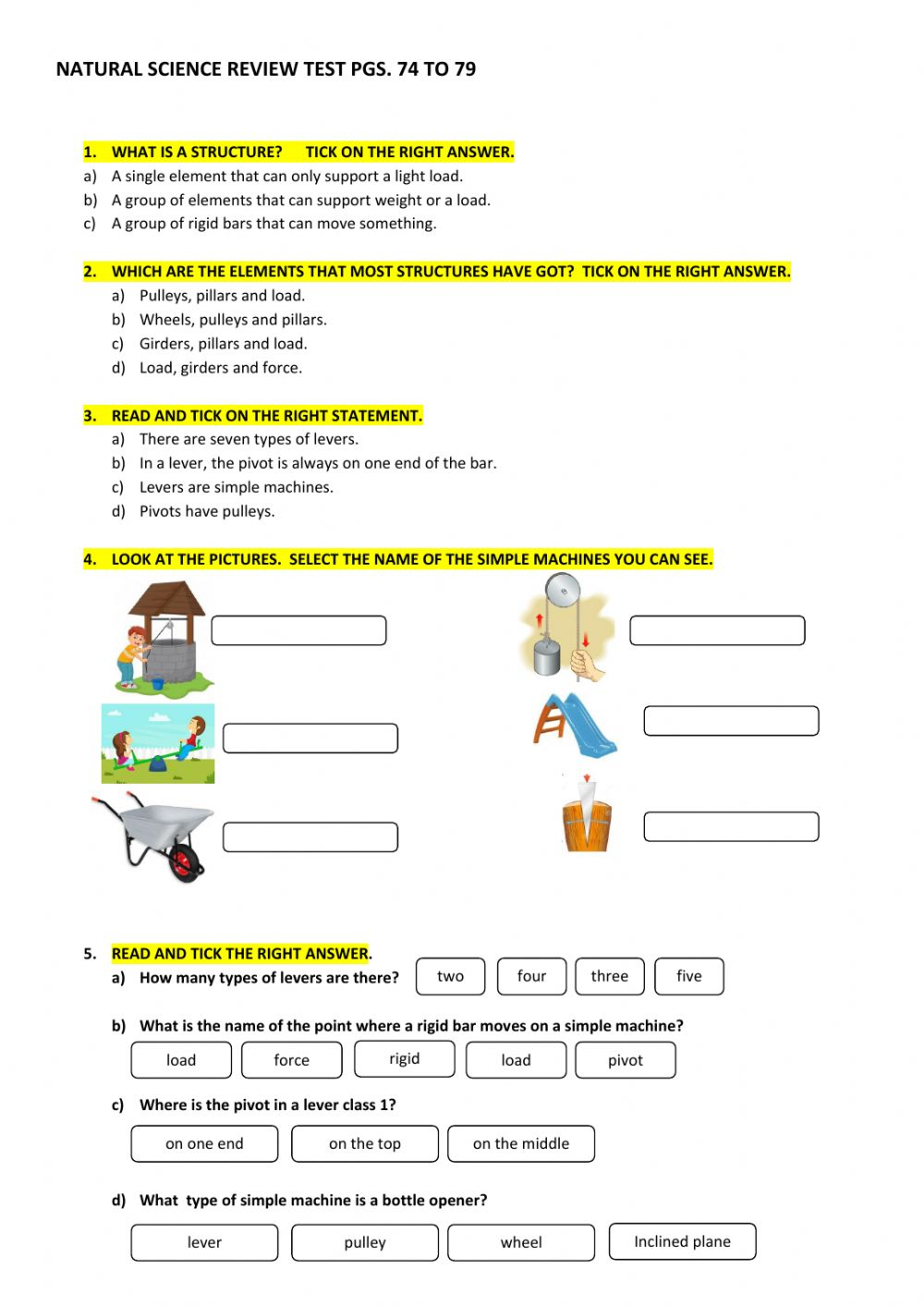 hight resolution of Simple machines online exercise for GRADE 4