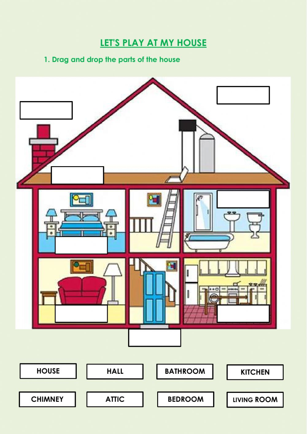 medium resolution of Parts of the house worksheet for 2