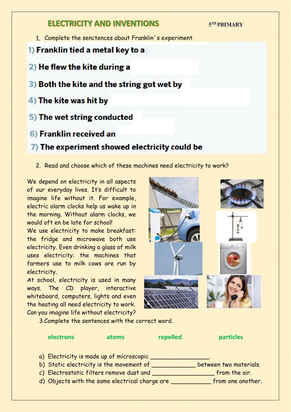 medium resolution of Electricity and inventions 1 worksheet