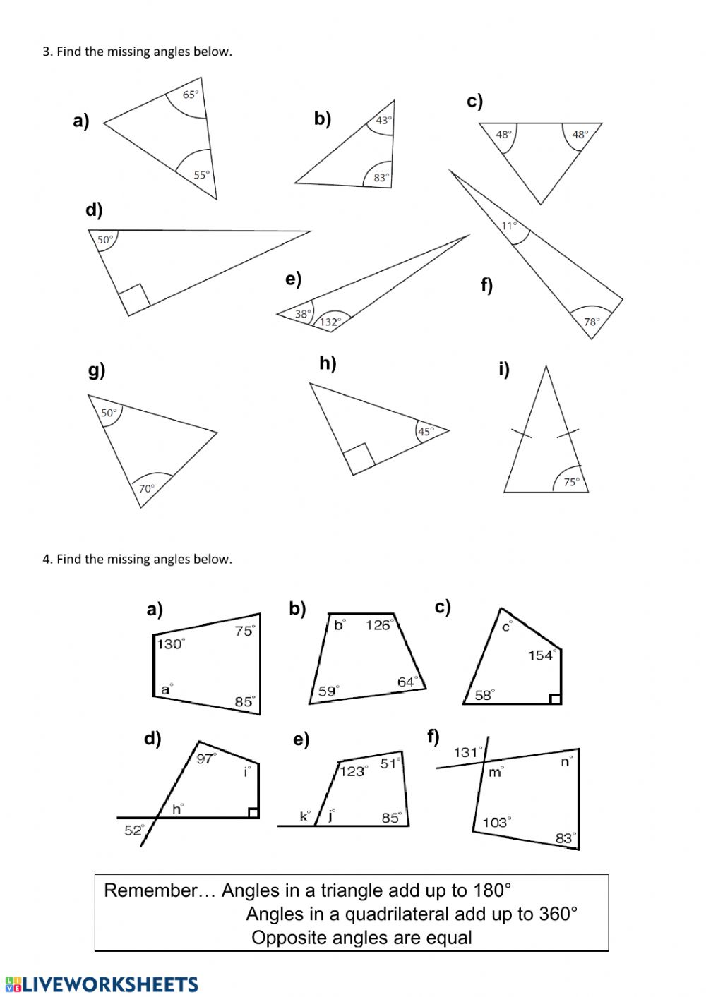 hight resolution of Finding missing angles worksheet