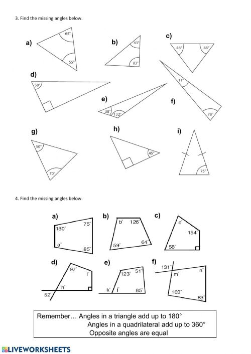 small resolution of Finding missing angles worksheet