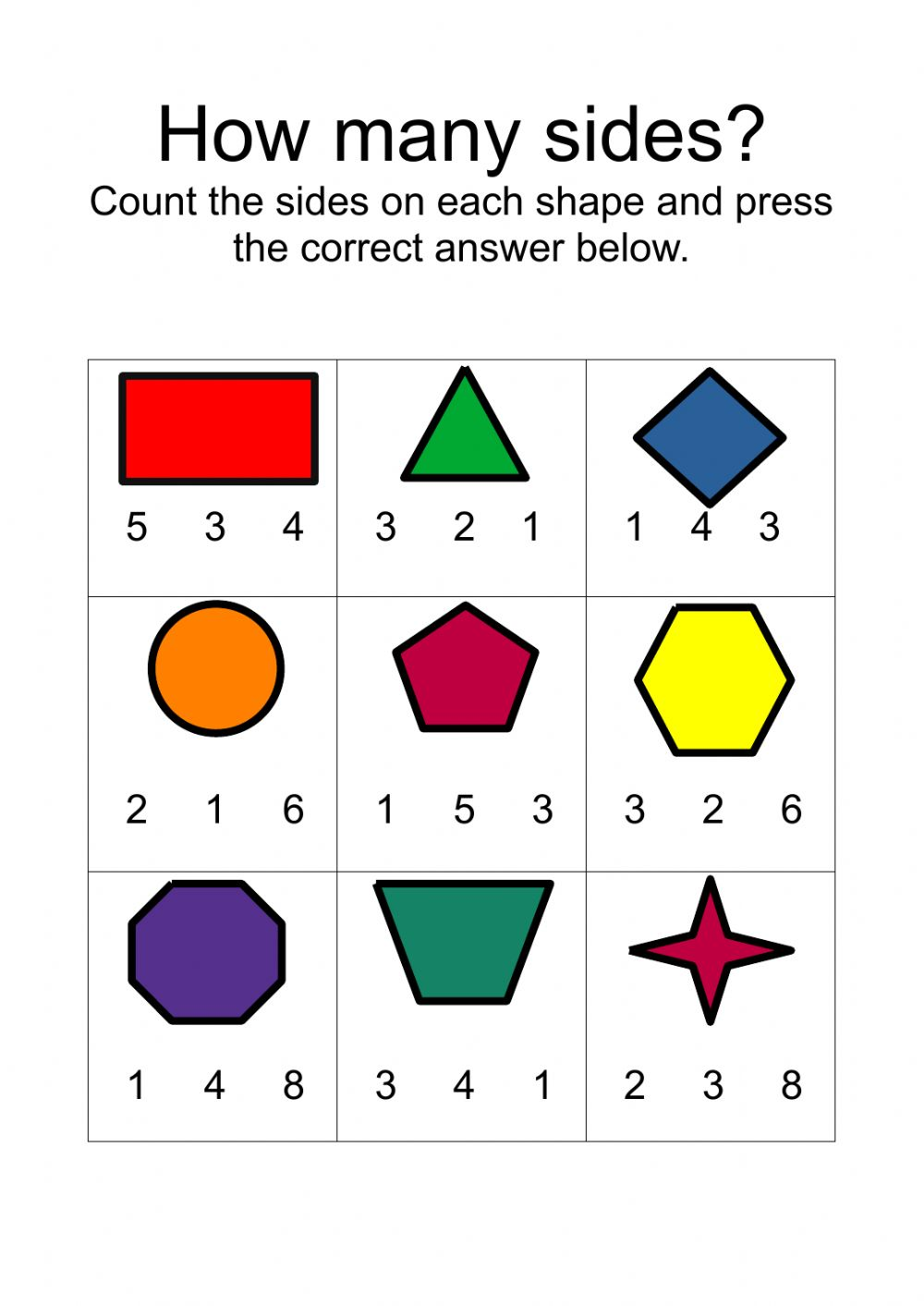 hight resolution of Counting Sides on Shapes worksheet