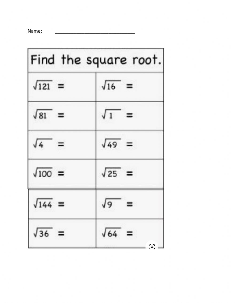 medium resolution of Square Roots worksheet