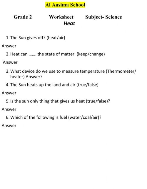 small resolution of Heat for grade 2 worksheet