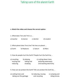 Taking care of the planet Earth worksheet [ 1291 x 1000 Pixel ]