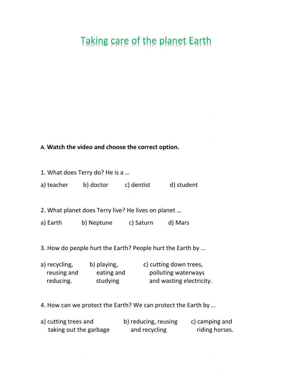 hight resolution of Taking care of the planet Earth worksheet