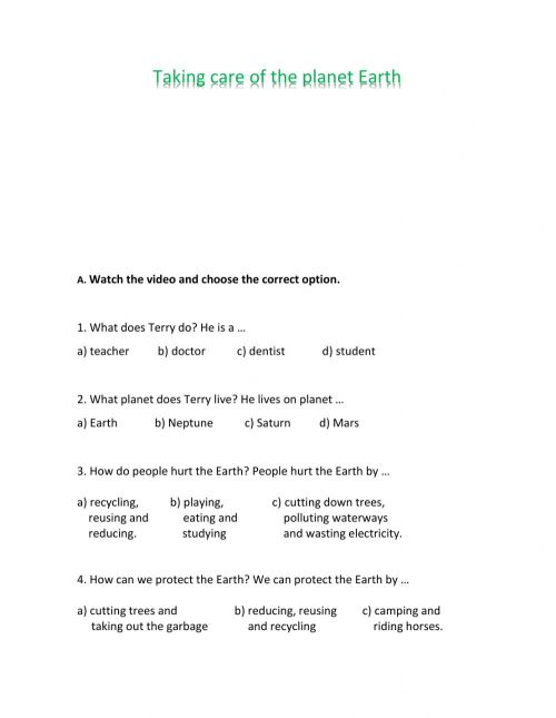 small resolution of Taking care of the planet Earth worksheet