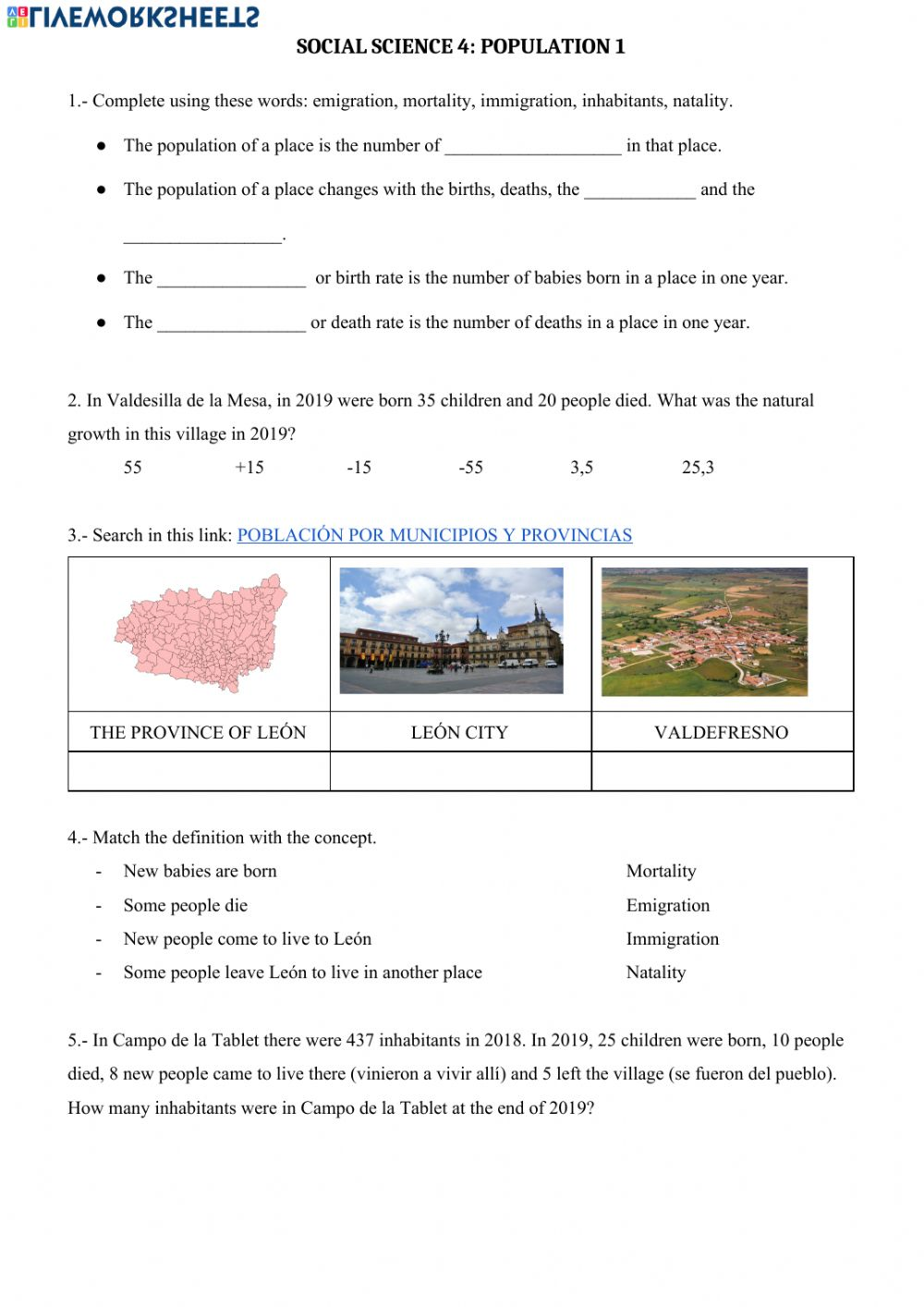 medium resolution of Population concepts worksheet