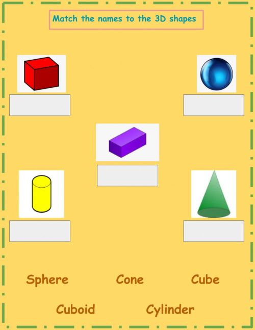 small resolution of 3D Shapes Name Match worksheet