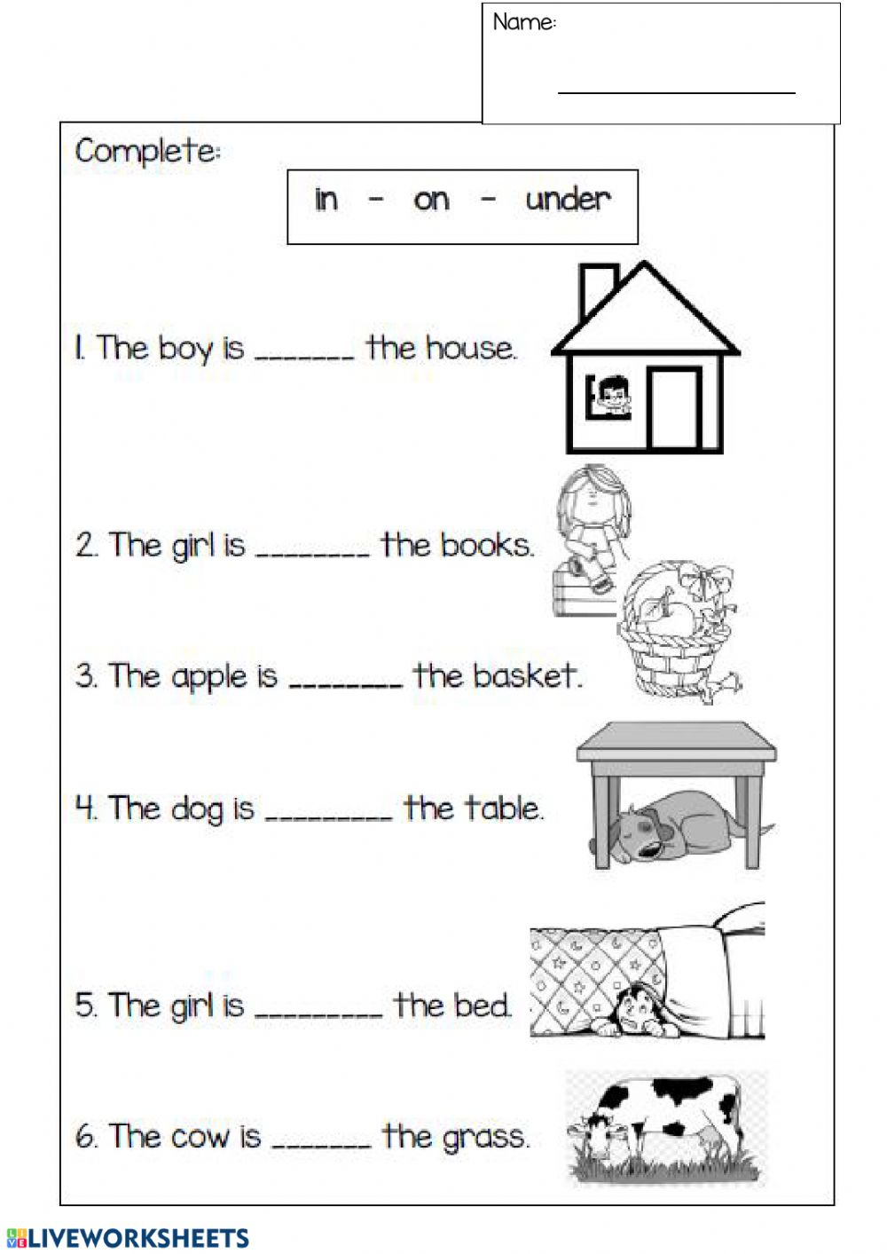 medium resolution of Prepositions interactive worksheet for 1st grade