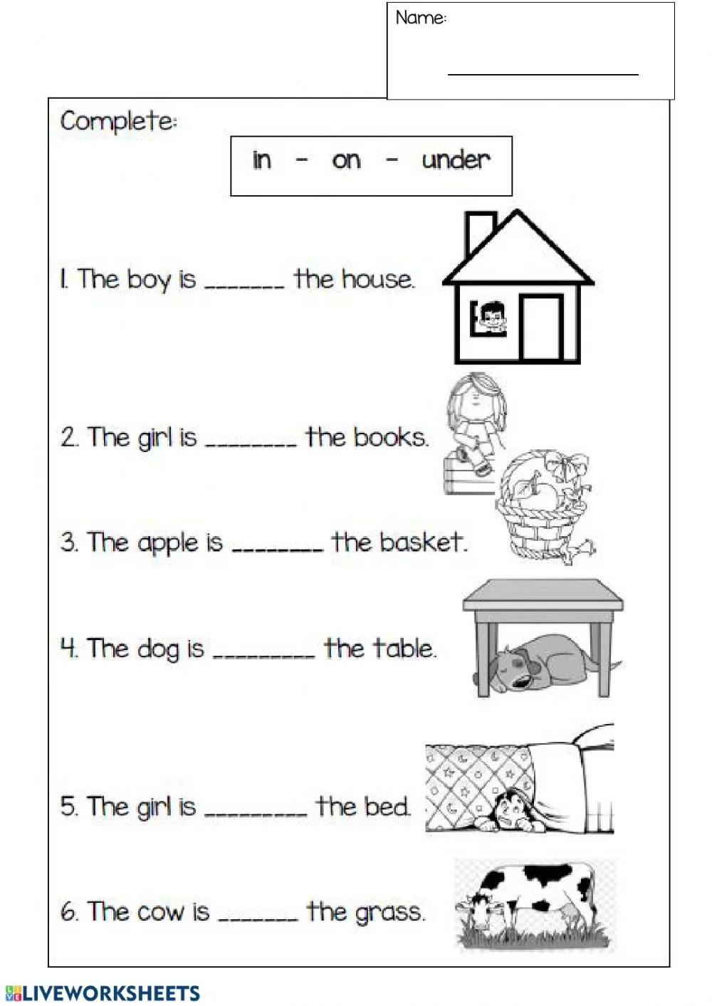 hight resolution of Prepositions interactive worksheet for 1st grade
