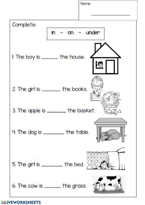 small resolution of Prepositions interactive worksheet for 1st grade