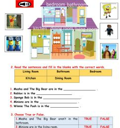 Parts of the house interactive worksheet for grade 1 [ 1413 x 1000 Pixel ]