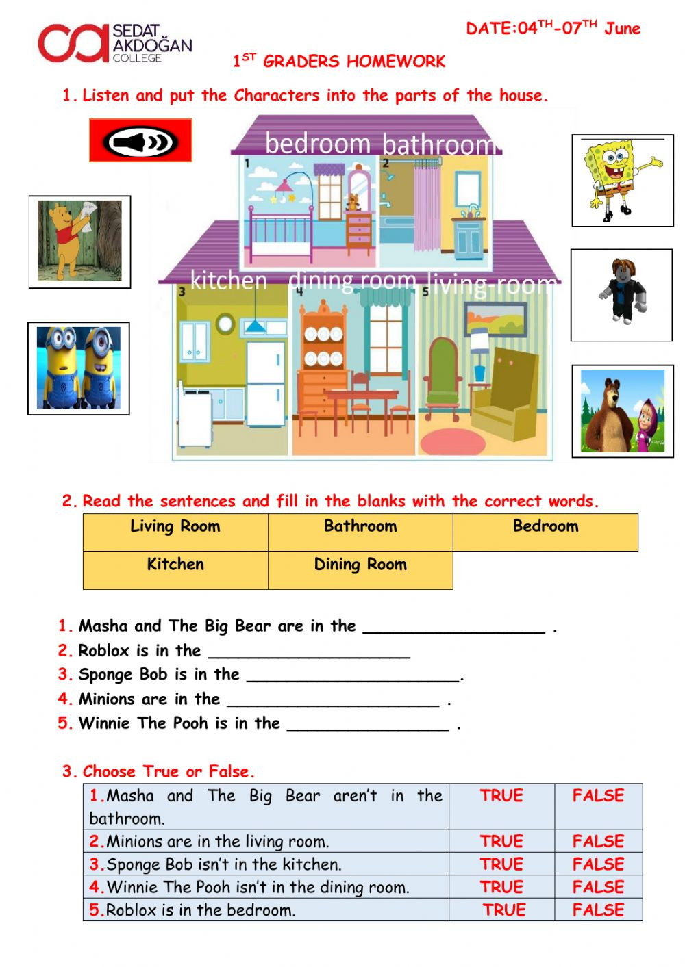 hight resolution of Parts of the house interactive worksheet for grade 1