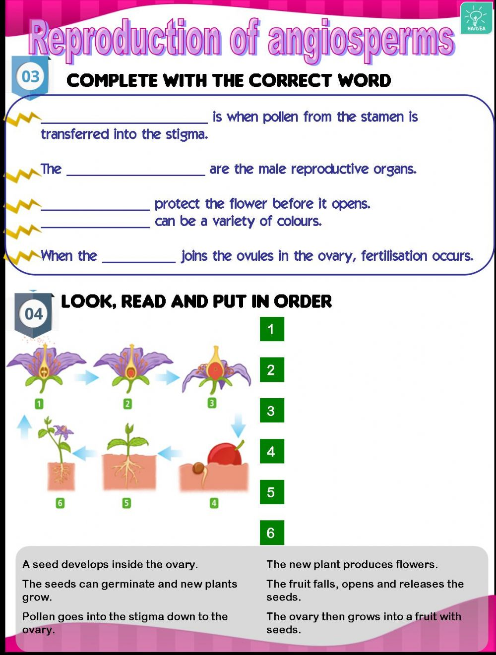 hight resolution of Reproduction of plants 2 worksheet