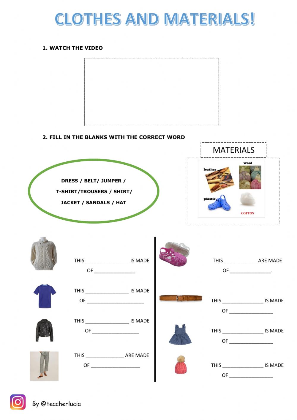 hight resolution of Clothes materials worksheet