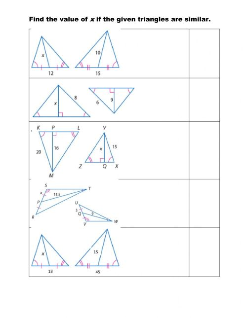 small resolution of Using proportions with special segments of similar triangles worksheet