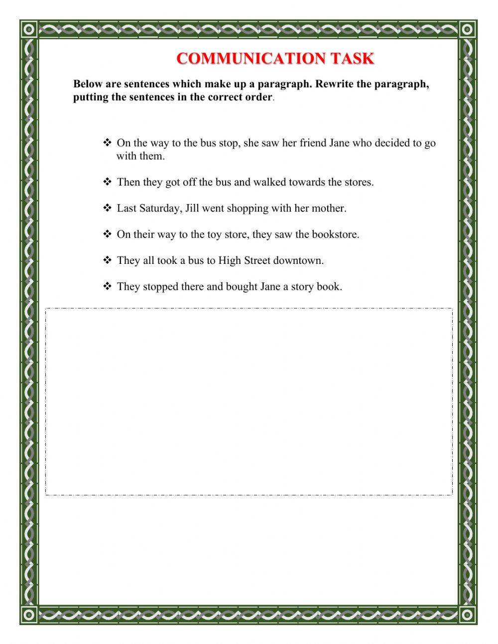 medium resolution of Sentence Sequencing worksheet