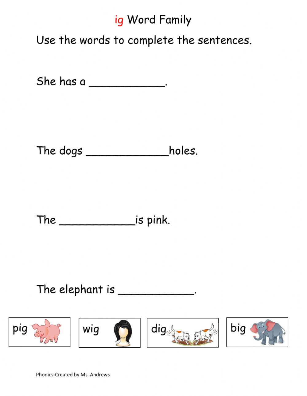 hight resolution of Ig Word Family worksheet