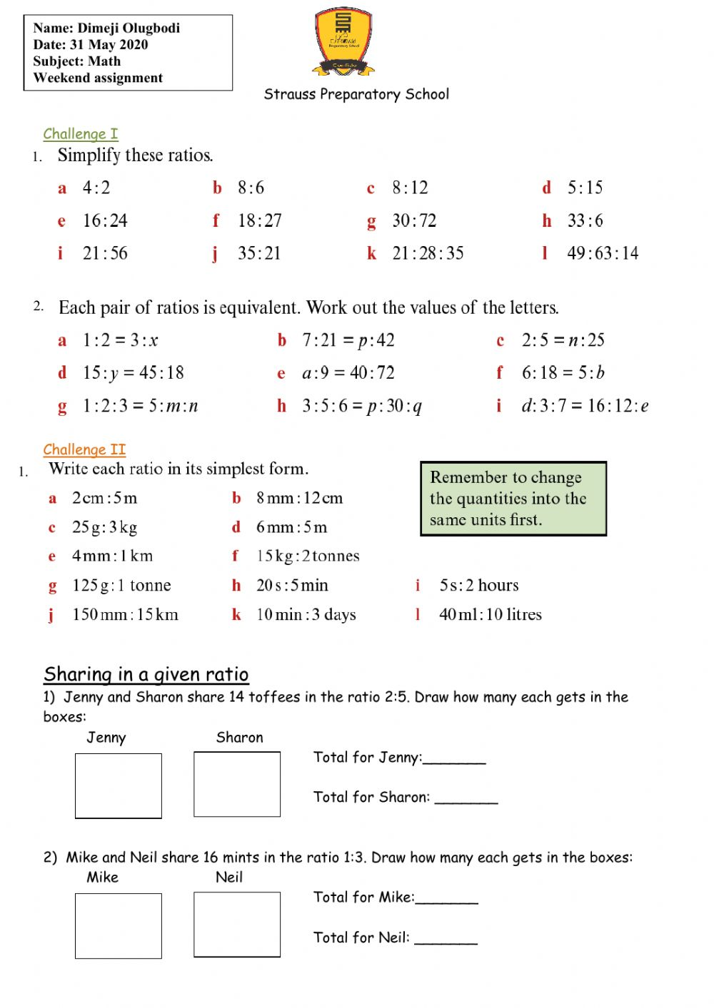 hight resolution of Ratio interactive worksheet