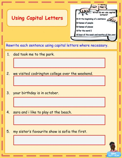 small resolution of Using Capital Letters worksheet
