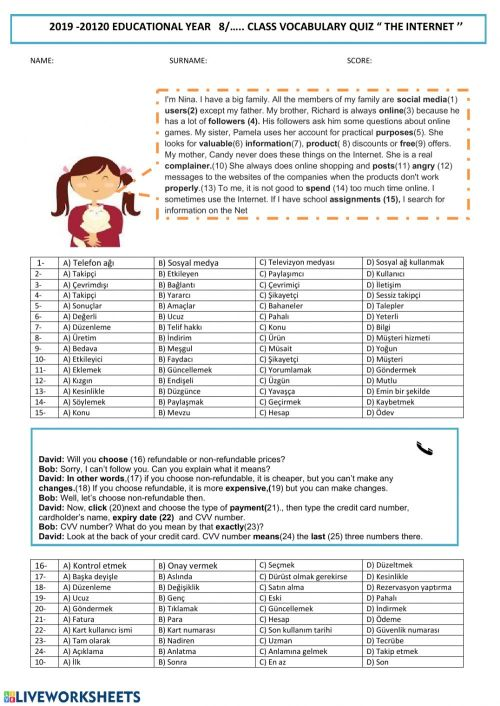 small resolution of The Internet-8th grade Vocabulary worksheet